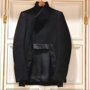 RICK OWENS cutaway satin trimmed coat